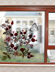 cheap -Retro Flowers Window Film & Stickers Decoration Vintage Style / Patterned Flower / Floral / 3D Print PVC(PolyVinyl Chloride) Window Sticker / Matte / Door Sticker