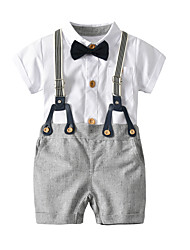 cheap -Baby Boys' Basic Solid Colored Short Sleeve Regular Regular Clothing Set White