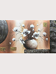 cheap -Oil Painting 100% Hand Painted Abstract White Magnolia Flowers Paintings on Canvas with Stretched Frame Ready for Hanging