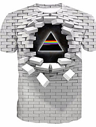cheap -Men's 3D Graphic Print T-shirt Casual Round Neck White / Purple / Blushing Pink / Gold / Green / Summer / Short Sleeve