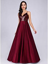 cheap -A-Line Sparkle Red Prom Formal Evening Dress Spaghetti Strap Sleeveless Floor Length Satin with Sequin 2020