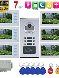 cheap -MOUNTAINONE SY715WHIDP6 WIFI / Wired & Wireless 7inch Record Video Intercom 6 Apartments Video Door Phone Intercom System with  RFID HD1080P Doorbell Waterproof Camera
