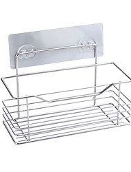 cheap -Storage Rack Strong Viscosity Adhesive Kitchen Basket Bathroom Storage Rack Bathroom Accessories Cookware Holders Hanging Baskets  Without Drilling Rustproof Self-adhesive 304# Stainless Steel PV04-1