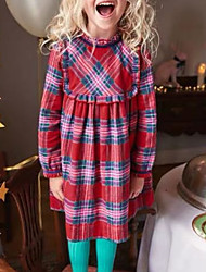 cheap -Toddler Girls' Plaid Long Sleeve Above Knee Dress Red