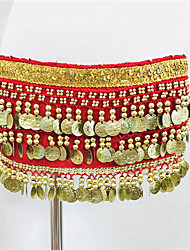 cheap -Women's Dancer Belly Dance Masquerade Waist Belt Oriental Sequins Canvas Sequin Black Red Waist Accessory