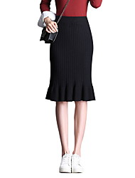 cheap -Women's Date / Office Street chic Trumpet / Mermaid Skirts - Solid Colored Ruffle / Ruched Black Brown Beige One-Size
