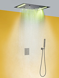 cheap -Thermostatic Shower Faucet Set - Handshower Included LED Rain Shower Contemporary Chrome Wall Mounted Brass Valve Bath Shower Mixer Taps