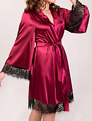 cheap -Women's Lace Robes Nightwear Solid Colored Black Wine White S M L