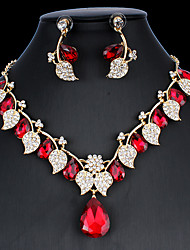 cheap -Women's Hoop Earrings Necklace Bridal Jewelry Sets Classic Leaf Stylish Basic Cute Earrings Jewelry bright red / White / Dark Blue For Wedding Party Engagement Two-piece Suit
