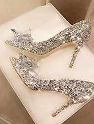 cheap -Women's Wedding Shoes Crystal Sandals Stiletto Heel Pointed Toe PU Spring &  Fall Burgundy / Champagne / Silver
