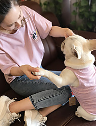 cheap -Dog Cat Shirt / T-Shirt Matching Outfits Dog Clothes Breathable Blue Pink Beige Costume Bulldog Schnauzer Chihuahua Cotton Striped Sports Stripes Women M S M L XL XXL