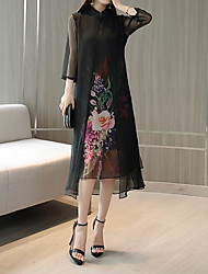 cheap -Women's Sheath Dress - Floral Botanical Black S M L XL