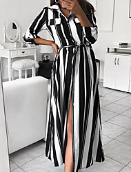 cheap -Women's Elegant Maxi Loose Shift Dress - Striped Shirt Collar Black Red S M L XL