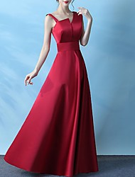 cheap -A-Line Elegant Prom Formal Evening Dress One Shoulder Sleeveless Floor Length Polyester with Pleats 2020
