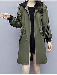 cheap -Women's Daily Fall & Winter Long Coat, Solid Colored Hooded Long Sleeve Polyester Army Green / Royal Blue / Khaki