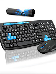 cheap -Multimedia Wireless Keyboard Mouse and Pad Combos for Office Desktop Laptop 3 Pcs a Kit