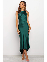 cheap -Sheath / Column Jewel Neck Asymmetrical Satin Elegant Cocktail Party / Party Wear / Wedding Guest Dress 2020 with Ruched / Split