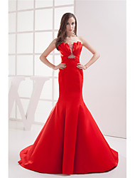 cheap -Mermaid / Trumpet Scalloped Neckline Court Train Satin Elegant Formal Evening Dress with Beading / Ruched 2020