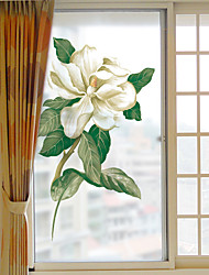 cheap -Creative White Flowers Window Film & Stickers Decoration Matte / Floral Geometric PVC(PolyVinyl Chloride) Window Sticker / Matte / Door Sticker