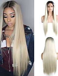 cheap -Synthetic Lace Front Wig Silky Straight Middle Part Lace Front Wig Long Black / Blonde Synthetic Hair 18-26 inch Women's Adjustable Heat Resistant Synthetic Blonde Ombre