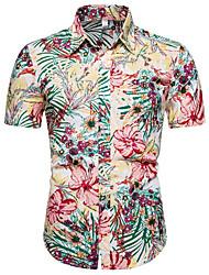 cheap -Men's Floral Shirt Daily Blushing Pink / Short Sleeve