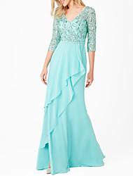 cheap -Sheath / Column V Neck Floor Length Chiffon 3/4 Length Sleeve Elegant Mother of the Bride Dress with Appliques 2020