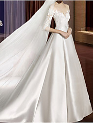 cheap -A-Line V Neck Court Train Lace / Tulle Half Sleeve Formal / Vintage Plus Size Made-To-Measure Wedding Dresses with Appliques / Lace Insert 2020
