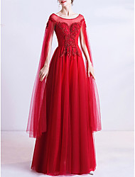 cheap -A-Line Wedding Dresses Jewel Neck Floor Length Organza Cap Sleeve Romantic Plus Size Red with Beading 2020