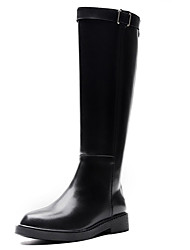 cheap -Women's Boots Low Heel Round Toe Synthetics Knee High Boots British / Minimalism Winter / Fall & Winter Black / Party & Evening