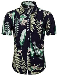 cheap -Men's Daily Tropical Shirt - Floral Black / Short Sleeve