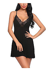 cheap -Women's Lace Robes Nightwear Solid Colored Black Wine Gray S M L