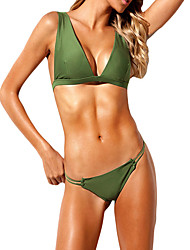 cheap -Women's Plus Size Basic Army Green Halter Cheeky Bikini Swimwear Swimsuit - Solid Colored S M L Army Green