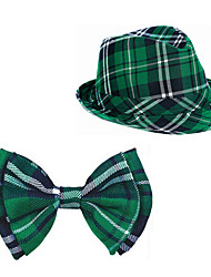 cheap -Irish hat green checked bud hat bow tie suit st Patrick's day Irish party dress suit