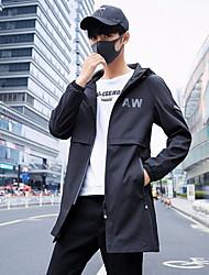 cheap -Men's Daily Fall & Winter Regular Jacket, Letter Hooded Long Sleeve Polyester Black / Gray