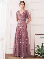 cheap -A-Line Elegant Floral Wedding Guest Engagement Prom Dress V Neck Short Sleeve Floor Length Tulle with Sequin 2021
