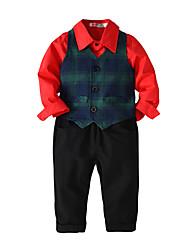 cheap -Kids Toddler Boys' Basic Birthday Party Party & Evening Black & White Geometric Print Sleeveless Long Sleeve Regular Regular Clothing Set Red