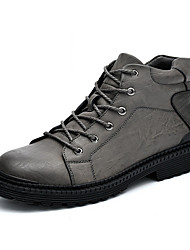 cheap -Men's Combat Boots Leather Fall & Winter Boots Mid-Calf Boots Black / Gray