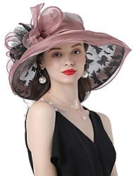cheap -Headwear Organza / Poly / Cotton Blend Hats with Bowknot / Cascading Ruffles / Flower 1 Piece Wedding / Outdoor Headpiece