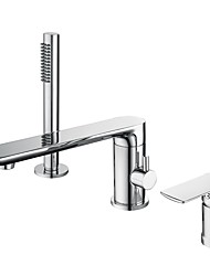 cheap -Bathtub Faucet - Contemporary Chrome Roman Tub Ceramic Valve Bath Shower Mixer Taps / Single Handle Three Holes
