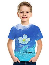 Недорогие -Дети Мальчики Активный Уличный стиль Цветочный принт 3D С принтом С короткими рукавами Футболка Синий