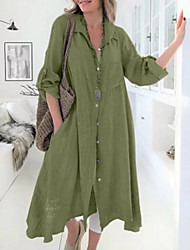 cheap -Women's Daily Shirt - Solid Colored Green