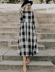 cheap -Women's Maxi Black Dress Shift Plaid / Checkered S M