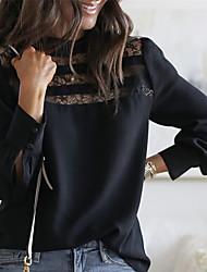 Недорогие -Жен. Однотонный Кружева Рубашка Элегантный стиль На выход Офис Черный