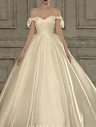 cheap -A-Line Wedding Dresses Strapless Court Train Satin Cap Sleeve Formal Plus Size with Draping 2020
