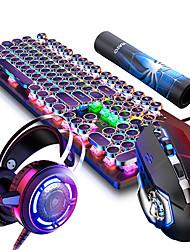 Недорогие -LITBest Punk-4 USB Проводной Мышь Клавиатура Комбо Игровой / Подсветка / С ковриком для мыши Механическая клавиатура / Игровые клавиатуры / Мультимедийная клавиатура