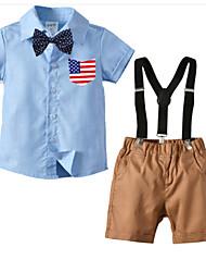 cheap -Kids Boys' Basic Birthday Party Party & Evening Black & White Print Print Short Sleeve Regular Regular Clothing Set Navy Blue