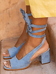 cheap -Women's Sandals Chunky Heel Peep Toe Suede Business / Vintage Spring &  Fall / Spring & Summer Brown / Blue / Beige / Party & Evening