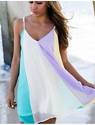 cheap -Women's Mini Shift Dress - Sleeveless Color Block Spring & Summer Strap Elegant Slim 2020 Rainbow XS S M L XL XXL XXXL XXXXL XXXXXL