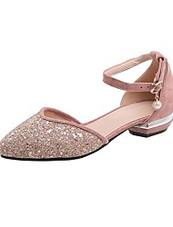 cheap -Women's Sandals Low Heel Pointed Toe Sequin / Imitation Pearl Synthetics Spring & Summer Black / Pink / Beige / Wedding / Party & Evening