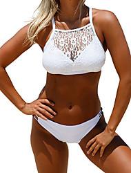 cheap -Women's Basic White Halter Cheeky Bikini Swimwear - Solid Colored Lace Criss Cross L XL White